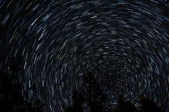 Ίχνη αστεριών γύρω από το αστέρι πόλων με τις σκιαγραφίες δέντρων στο πρώτο πλάνο Στοκ φωτογραφία με δικαίωμα ελεύθερης χρήσης