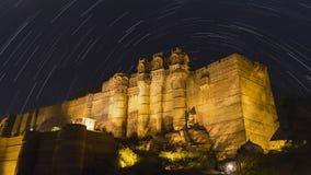 Ίχνη αστεριών οχυρών Mehrangarh Στοκ Φωτογραφίες