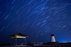 Ίχνη αστεριών στο σαφές πάρκο χώρας κόλπων νερού στοκ εικόνες με δικαίωμα ελεύθερης χρήσης