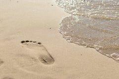 Ίχνη ποδιών στην παραλία Στοκ Εικόνες