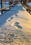Ίχνη στα παπούτσια χιονιού στοκ εικόνα
