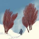 Ίχνη στο χιόνι μεταξύ των δέντρων ελεύθερη απεικόνιση δικαιώματος