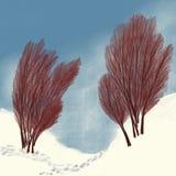 Ίχνη στο χιόνι μεταξύ των δέντρων απεικόνιση αποθεμάτων