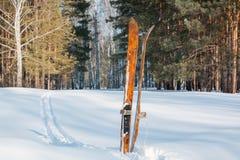 Ίχνη στο χιόνι Στα ξύλινα ίχνη στο χιόνι του σκιέρ Στοκ εικόνες με δικαίωμα ελεύθερης χρήσης