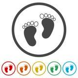 Ίχνος δύο μωρών, 6 χρώματα συμπεριλαμβανόμενα Στοκ εικόνες με δικαίωμα ελεύθερης χρήσης