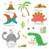 Ίχνος, ηφαίστειο, φοίνικας, πέτρες, κόκκαλο και κάκτος δεινοσαύρων απεικόνιση αποθεμάτων