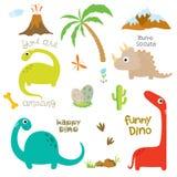 Ίχνος, ηφαίστειο, φοίνικας, πέτρες, κόκκαλο και κάκτος δεινοσαύρων διανυσματική απεικόνιση