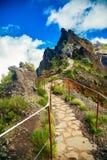 Ίχνος πεζοπορίας από το βουνό Pico do Arieiro Στοκ Εικόνα