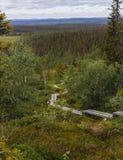 Ίχνος πεζοπορίας στο βουνό στο Lapland Στοκ Φωτογραφίες
