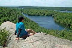 Ίχνος πεζοπορίας Dunder βράχου, Lyndhurst, Οντάριο, Καναδάς Στοκ Φωτογραφία