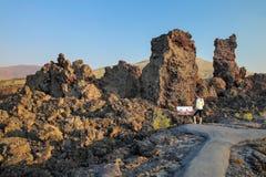 Ίχνος ροής βόρειων κρατήρων, κρατήρες του εθνικού μνημείου φεγγαριών, Αϊντάχο, ΗΠΑ στοκ εικόνες