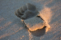 Ίχνος στην άμμο παραλιών στο ηλιοβασίλεμα Στοκ Εικόνες