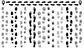 Ίχνος των παπουτσιών στο δρόμο, απομονωμένο καθορισμένο διάνυσμα σκιαγραφιών απεικόνιση αποθεμάτων