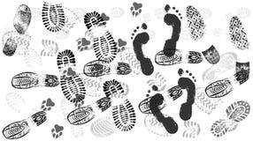 Ίχνος των παπουτσιών στο δρόμο, πλήθη των ανθρώπων, απομονωμένο διάνυσμα σκιαγραφιών διανυσματική απεικόνιση