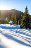 Ίχνος χιονιού που οδηγεί σε ένα ξύλινο εξοχικό σπίτι στα βουνά Στοκ εικόνα με δικαίωμα ελεύθερης χρήσης