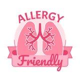 Αέρα διανυσματική απεικόνιση διακριτικών συμβόλων αλλεργίας φιλική Στοκ εικόνα με δικαίωμα ελεύθερης χρήσης