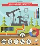 Αέριο και βιομηχανία πετρελαίου infographic Στοκ Εικόνα