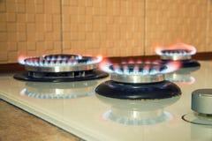 Αέριο που καίει την μπλε φλόγα Στοκ εικόνα με δικαίωμα ελεύθερης χρήσης