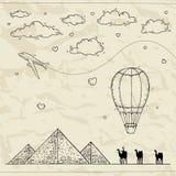 Αίγυπτος Συρμένο χέρι υπόβαθρο ταξιδιού και τουρισμού διανυσματική απεικόνιση