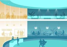 Αίθουσα ή υποδοχή ενός μεγάλου κτιρίου γραφείων ελεύθερη απεικόνιση δικαιώματος