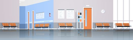 Αίθουσα αναμονής διαδρόμων νοσοκομείων με τις καρέκλες και τις πόρτες πινάκων πληροφοριών κενές κανένα εσωτερικό διαμέρισμα panor διανυσματική απεικόνιση