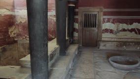 Αίθουσα βασιλιά του θρυλικού παλατιού της Κνωσού, Κρήτη, Ελλάδα απόθεμα βίντεο