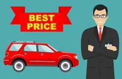 Αίθουσα εκθέσεως αυτοκινήτων μεγάλη πώληση Ο χαμογελώντας διευθυντής πωλεί το νέο αυτοκίνητο επιχειρησιακής κατηγορίας Λεπτομερής Στοκ Φωτογραφία