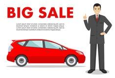 Αίθουσα εκθέσεως αυτοκινήτων μεγάλη πώληση Ο διευθυντής πωλεί το νέο αυτοκίνητο Λεπτομερής απεικόνιση του επιχειρηματία και του κ Στοκ Φωτογραφίες