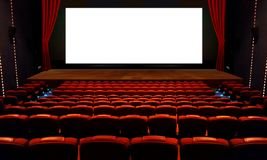 Αίθουσα θεάτρων με το κόκκινο κάθισμα και την άσπρη οθόνη Στοκ φωτογραφία με δικαίωμα ελεύθερης χρήσης