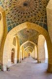 Αίθουσα μουσουλμανικών τεμενών του Nasir Al-Mulk arcade fisheye Στοκ Εικόνες