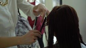 Αίθουσα ομορφιάς barbra Ο στιλίστας κάνει το κορίτσι κουρέματος το καυτό ψαλίδι Κινηματογράφηση σε πρώτο πλάνο κίνηση αργή απόθεμα βίντεο