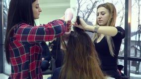 Αίθουσα ομορφιάς barbra Ο στιλίστας ξεραίνει την τρίχα του πελάτη του Ο μαθητής βοηθά τις συμπεριφορές α στιλίστων στιλίστων φιλμ μικρού μήκους