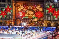 Αίθουσα παγοδρομίας πατινάζ πάγου νύχτας Χριστουγέννων της Πόλης του Μεξικού Μεξικό Zocalo Στοκ Φωτογραφία