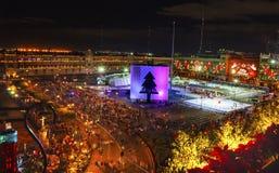 Αίθουσα παγοδρομίας πατινάζ πάγου νύχτας Χριστουγέννων της Πόλης του Μεξικού Μεξικό Zocalo Στοκ Εικόνες