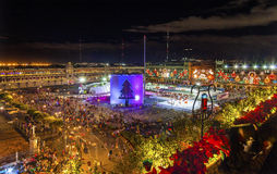 Αίθουσα παγοδρομίας πατινάζ πάγου νύχτας Χριστουγέννων της Πόλης του Μεξικού Μεξικό Zocalo Στοκ εικόνες με δικαίωμα ελεύθερης χρήσης