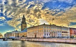 Αίθουσα πόλεων του Γκέτεμπουργκ και η γερμανική εκκλησία - Σουηδία Στοκ φωτογραφία με δικαίωμα ελεύθερης χρήσης