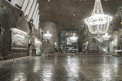 Αίθουσα στο αλατισμένο ορυχείο σε Wieliczka, Πολωνία Στοκ φωτογραφία με δικαίωμα ελεύθερης χρήσης