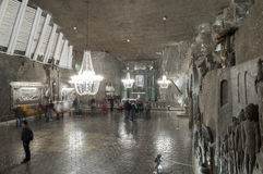 Αίθουσα στο αλατισμένο ορυχείο σε Wieliczka, Πολωνία στοκ φωτογραφίες με δικαίωμα ελεύθερης χρήσης