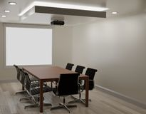 Αίθουσα συνεδριάσεων με τον άσπρο τοίχο, ξύλινο πάτωμα, μηχανή προβολέων ελεύθερη απεικόνιση δικαιώματος