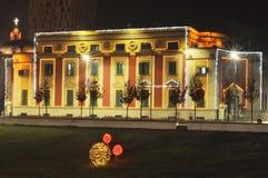 Αίθουσα των Τιράνων τή νύχτα στοκ εικόνες με δικαίωμα ελεύθερης χρήσης
