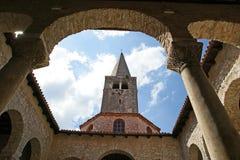 Αίθριο της βασιλικής Euphrasian, Porec, Istria, Κροατία Στοκ Εικόνες