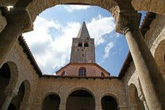 Αίθριο της βασιλικής Euphrasian, Porec, Istria, Κροατία Στοκ Φωτογραφία