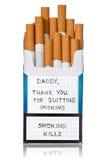 Αίτημα για το εγκαταλειμμένο κάπνισμα στο πακέτο τσιγάρων Στοκ φωτογραφία με δικαίωμα ελεύθερης χρήσης