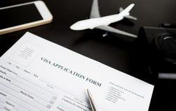Αίτηση υποψηφιότητας θεωρήσεων ταξιδιού για τις διακοπές στοκ εικόνα με δικαίωμα ελεύθερης χρήσης