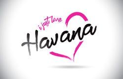 Αβάνα Ι ακριβώς κείμενο του Word αγάπης με τη χειρόγραφη πηγή και τη ρόδινη μορφή καρδιών ελεύθερη απεικόνιση δικαιώματος