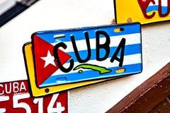 Αβάνα, Κούβα - 12 Δεκεμβρίου 2016: Πινακίδα αριθμού κυκλοφορίας με τη σημαία της Κούβας Στοκ φωτογραφία με δικαίωμα ελεύθερης χρήσης