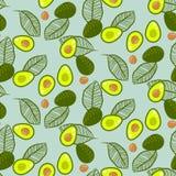 Αβοκάντο πράσινο στο άνευ ραφής διανυσματικό σχέδιο μεντών κρητιδογραφιών διανυσματική απεικόνιση