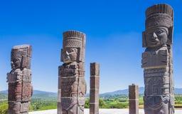 Αγάλματα πολεμιστών Toltec που ολοκληρώνουν στην πυραμίδα Quetzalcoatl, αρχαιολογική περιοχή της Τούλα, Μεξικό Στοκ φωτογραφίες με δικαίωμα ελεύθερης χρήσης