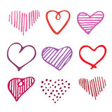 Αγάπης άνευ ραφής καρδιές doodle σχεδίων ρομαντικές μοναδικές Στοκ Εικόνες