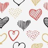 Αγάπης άνευ ραφής καρδιές doodle σχεδίων ρομαντικές μοναδικές Στοκ εικόνα με δικαίωμα ελεύθερης χρήσης